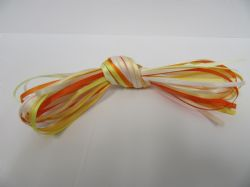 10 x 1 metre lengths assorted satin ribbon,  3mm, ORANGE /  YELLOW / WHITES ONLY